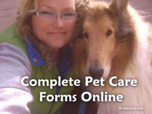 Complete pet care forms online for Muncie, Yorktown and Anderson pet care.
