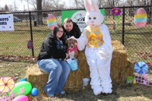 Easter bunny, dog, family