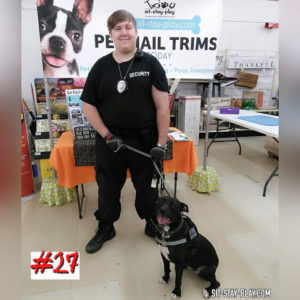 guy and dog dressed in security and k-9 clothing for Halloween